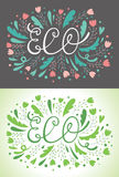 ECO lettering greeting cards Royalty Free Stock Image
