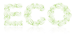 Eco lettering made from green leafs Royalty Free Stock Photos