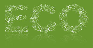 Eco lettering made from white leafs Stock Images