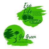 Eco life and green environment vector icons Royalty Free Stock Image