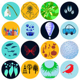 Eco life icon set with building, flowers, car, tree, bird, sun, Royalty Free Stock Images