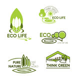 Eco life, think green icon set for ecology design Stock Images
