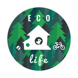 Eco life vector background and card in circle with flat pine forest, house, bird and bicycle Stock Images