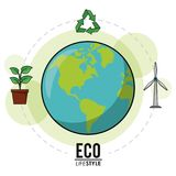 Eco lifestyle earth world recycle energy nature image. Vector illustration Stock Photography