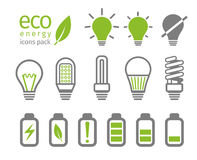 Eco light bulb and battery icon set. Vector illustration Stock Photos
