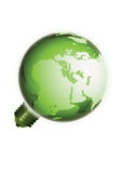 Eco light bulb earth isolated on white background. An ecological depiction of the earth in the form of a light bulb Stock Photos