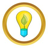 Eco light bulb icon. In golden circle, cartoon style isolated on white background stock illustration