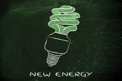 Eco lightbulb, ścisła fluorescencyjna żarówka dla konsumpci energii, Zdjęcia Stock