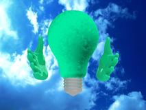 Eco lightbulb character. Royalty Free Stock Images