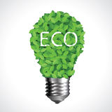 Eco Lightbulb Made Of Green Leaves Royalty Free Stock Photos