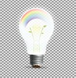 Eco lightbulp concept, realistic light bulp with rainbow and plant inside, ecology Stock Photography