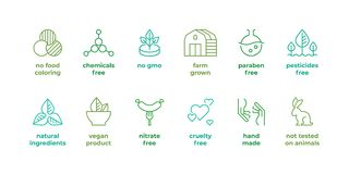 Eco line badge. Natural organic logos, paraben free not tested on animals, cruelty free labels, face skincare vector