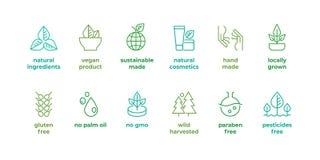 Eco-Linie Ausweis Handgemachte eco Logos, natürliche organische Symbole des Kosmetikstrengen vegetariers Nahrungsmittel, lineares vektor abbildung