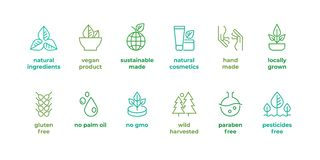 Eco linii odznaka Handmade eco logo, naturalnego organicznie kosmetyka weganinu karmowi symbole, Wektorowy liniowy gluten uwalnia ilustracja wektor