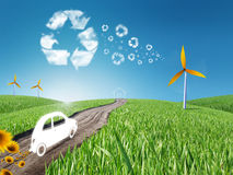 Eco living. House and car in the grass, recycle concept Stock Image