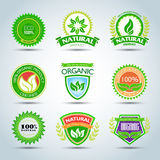 Eco loga szablonu set 100% organicznie produkt poświadczający, naturalny produkt Życiorys etykietka z retro rocznika projektem Zi Zdjęcia Stock