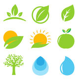 Eco Logo. 9 Eco Logo, Isolated On White Background, Vector Illustration Royalty Free Stock Photography