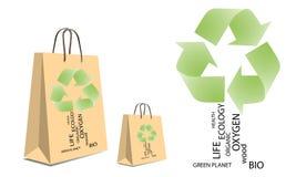 Eco-Logo auf der Papiertüte Stockbild