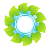 Eco logo - blue cogwheel Stock Photos