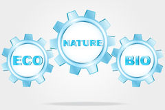 Eco logo - blue cogwheels Royalty Free Stock Image