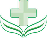 Eco logo clinic green with a leaf at the base Stock Images