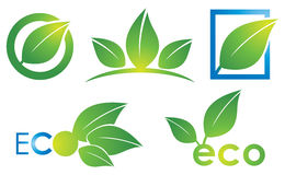 Eco Logo. An eco leaf environmantal logo icon set in colour vector illustration