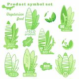 Eco logo. Sign of a vegetarian diet. Green Ecology Leaf Plant Health. Labels for natural food and drink. Products, biodynamic agriculture. Collection 100% bio royalty free illustration
