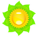 Eco logo - sun and green leaves Royalty Free Stock Photos