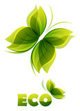 Eco logo - two  green butterflies Stock Photo