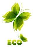 Eco logo - two  green butterflies Stock Photo