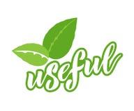Eco logos, badges of useful vegetarian labels with icon, lettering. Eco logos, badges of useful vegetarian labels with icon and bio lettering. Vegetarian stock illustration