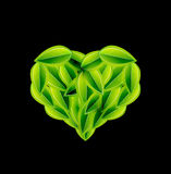 Eco love heart made of leaves. Vector Royalty Free Stock Image