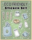 Eco majcheru życzliwy set Ekologiczna i odpady kolekcja etykietki E royalty ilustracja