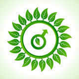 Eco male symbol inside the leaf background Stock Images