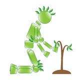 Eco Man with Sapling. Illustration of ecological conservation character with tree Stock Photos