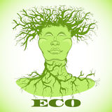 Eco man symbol. Tree with person. Ecology concept. Royalty Free Stock Photos