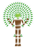 Eco Man Tree. Illustration of ecological conservation tree character Stock Images