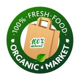 Eco Market Badge Promo. Paper bags and leaves on Stock Photography