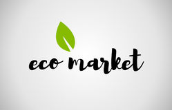 eco market green leaf handwritten text white background Royalty Free Stock Photography