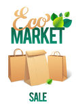 Eco Market Promo. Paper bags and leaves on green background. save the planet Royalty Free Stock Images