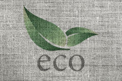 Eco material. Linen biodegradable material, printed with eco Royalty Free Stock Photos