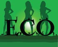 Eco med sexig grön flicka tre Arkivbild