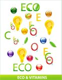 Eco and medic vitamins set Stock Images