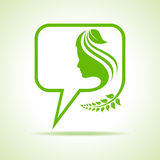 Eco message bubble icon with women face Stock Image