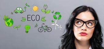 Eco met jonge onderneemster Royalty-vrije Stock Afbeelding