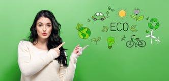 Eco met jonge vrouw Stock Afbeeldingen
