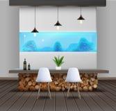 Eco-minimalist style interior. Vector illustration of interior design in eco-minimalist style with wooden table and aquarium stock illustration