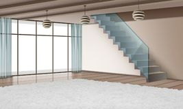 Eco-minimalist style interior. Vector illustration of modern interior with staircase and eco materials in minimalist style Royalty Free Stock Photos
