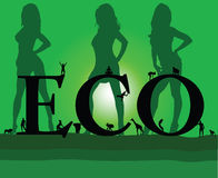 Eco mit sexy grünem Mädchen drei Stockfotografie