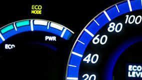 Eco Mode On Dashboard. With Driving Indicator ght Console Panel stock photos
